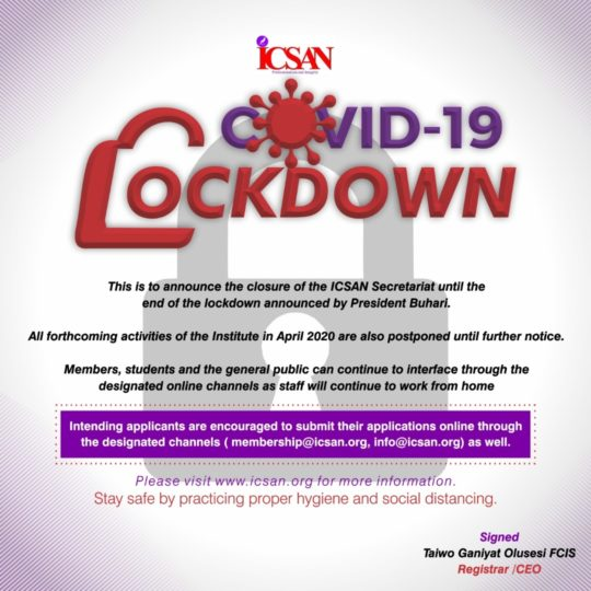 COVID-19: Closure of the ICSAN Secretariat until the end of the lockdown